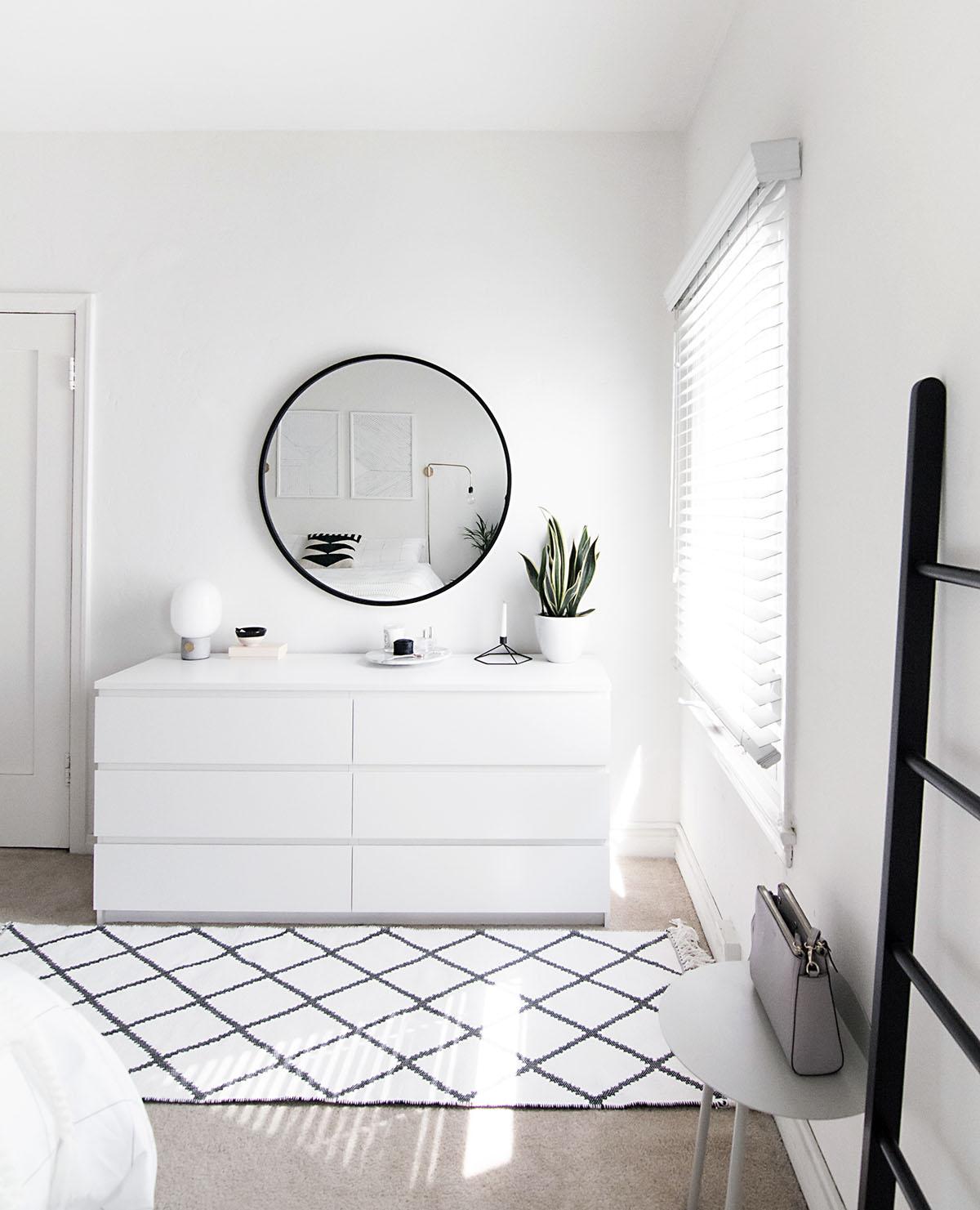 white dresser minimal bedroom