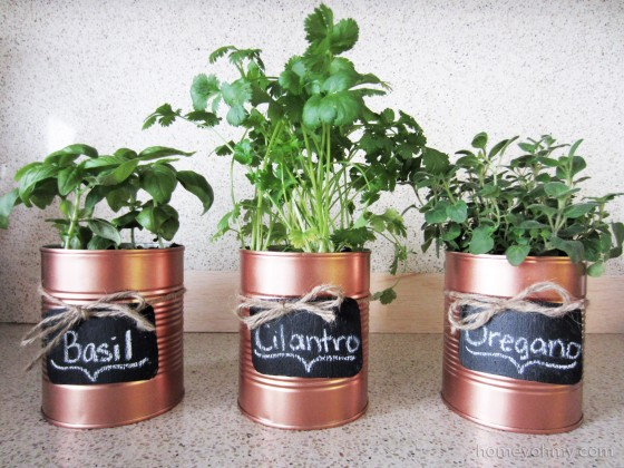 DIY Copper Tin Can Planters with Chalkboard Tags