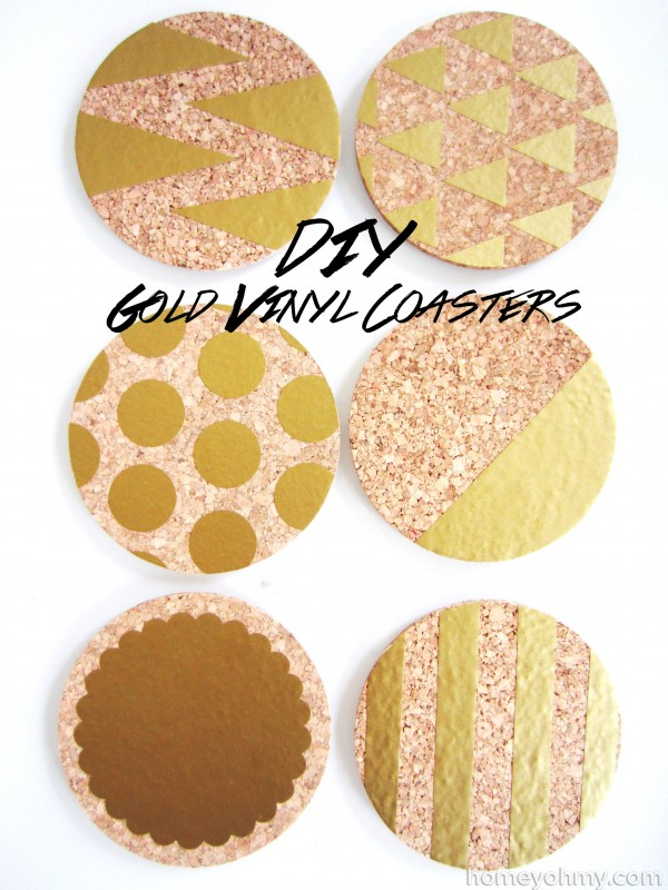 DIY Gold Vinyl Coasters